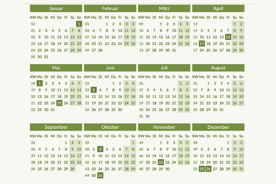 Grafik Kalenderansicht