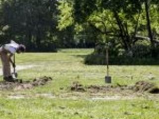 Ein Mann gräbt die Wiese um.