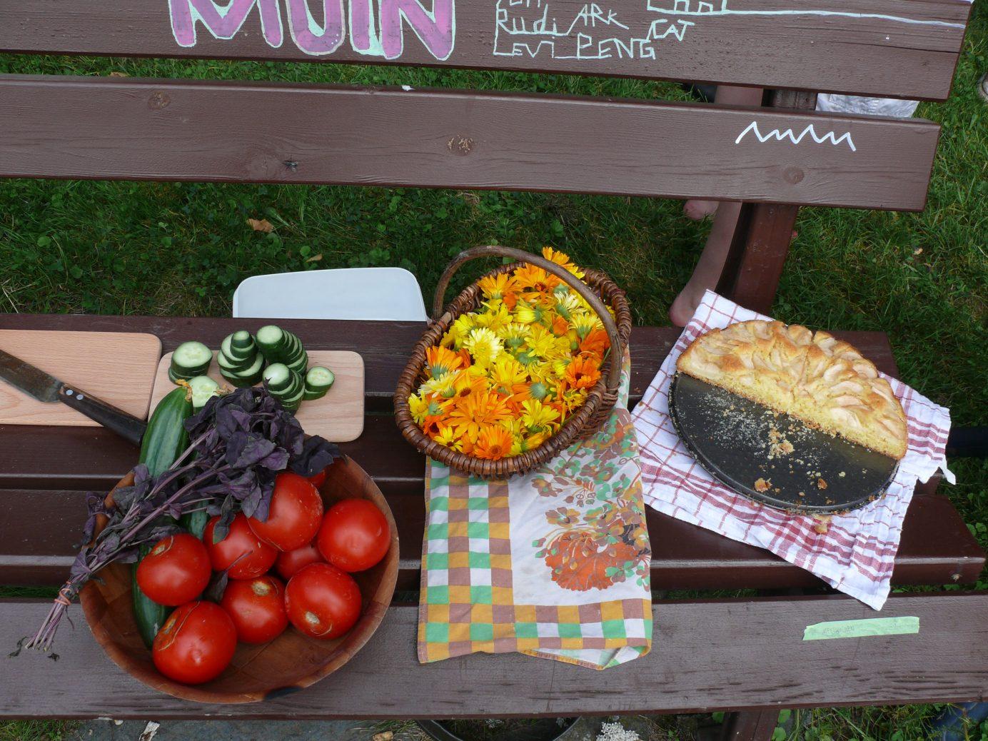 Tomaten, Kräuter, Gurken, ein Korb mit Blüten und ein Blech mit Kuchen stehen auf der Parkbank