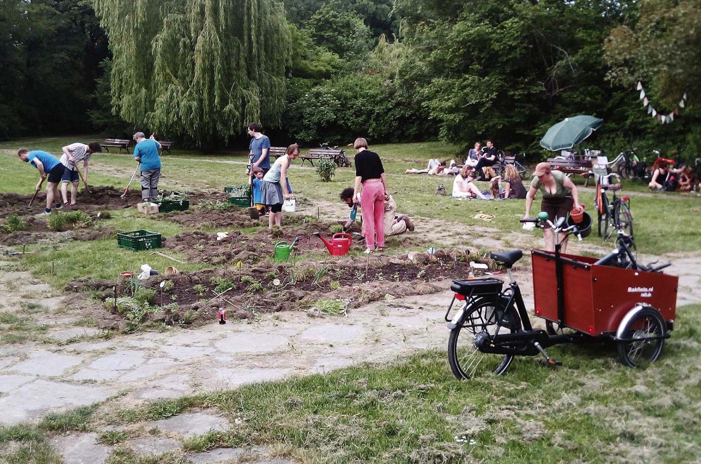 Männer, Frauen und Kinder gärtnern auf einer Parkfläche.