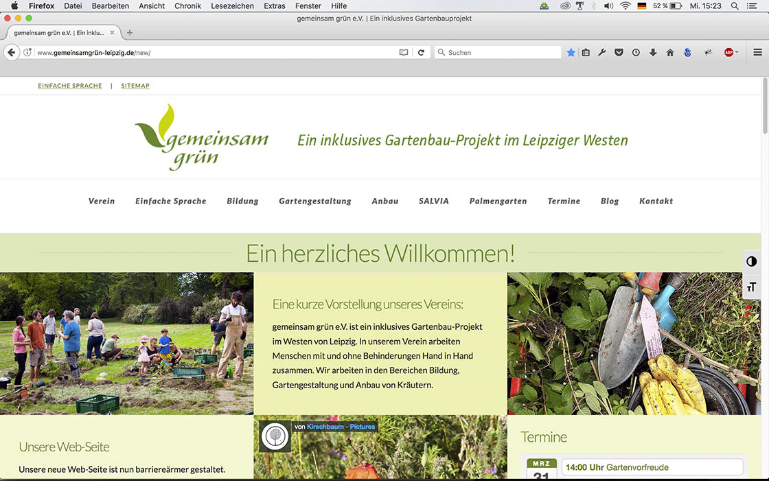 Bildschirmfoto der neuen Web-Seite