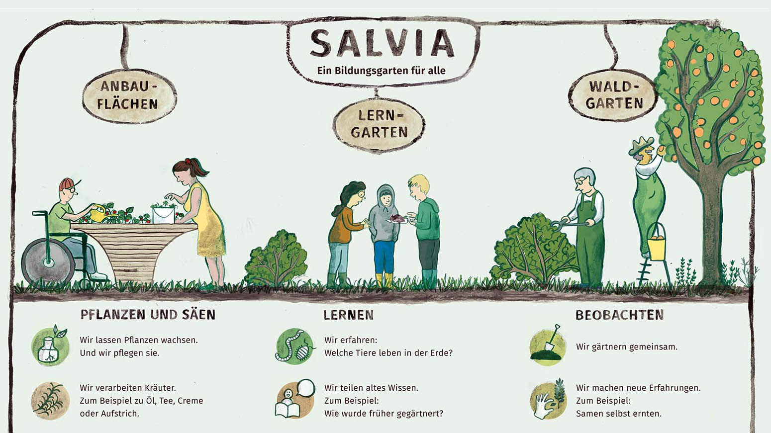 Gezeichnetes Schaubild mit Erklärungen in leichter Sprache.