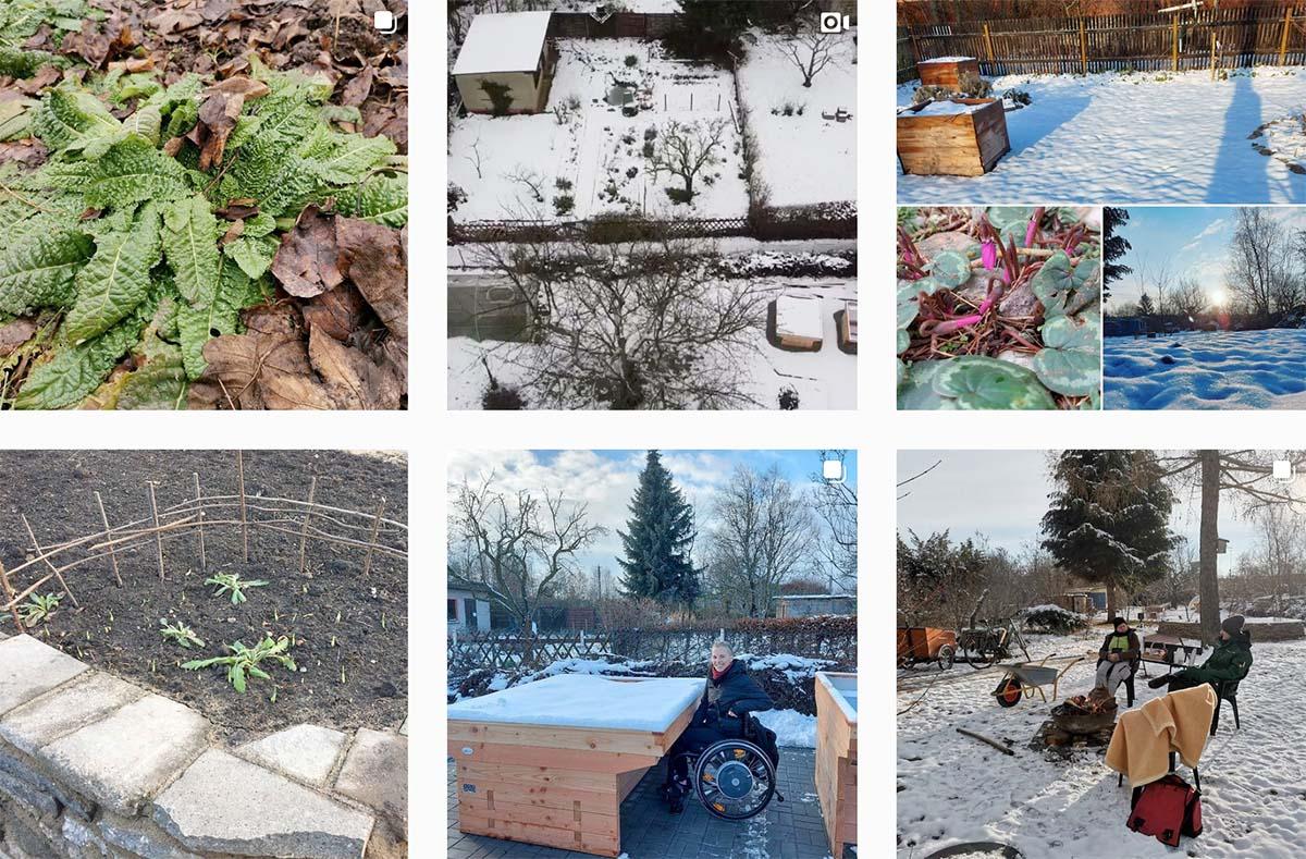 6 Wintereindrücke vom SALVIA-Bildungsgarten mit Luftbild, Schneebeeten, Franzi im Rolli beim Testen der unterfahrbaren Beete.